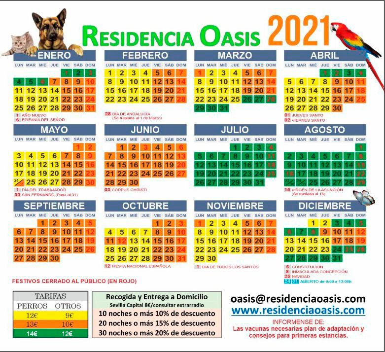 Tarifa Precios Residencia Oasis